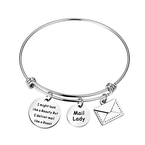 MYOSPARK Mail Lady Gift I Might Look Like a Beauty But I Deliver Mail Like a Beast Wire Bangle Bracelet Mail Carrier Gift Thank You Gift for Postal Worker (I Might Look wire)
