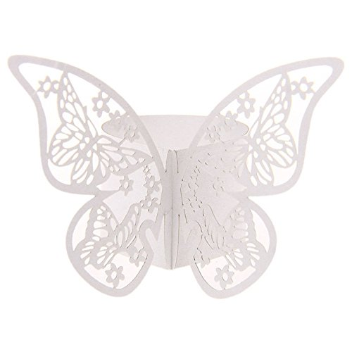 50 Stück Serviettenringe Hochzeitsfeier Tischdekoration Papierservietten Papier Stoffservietten Ring Schmetterling Weiß