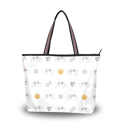 Tote Bag Bichon Frise Dog Shoulder Bag Handbag for Travel Shopping Picnic...