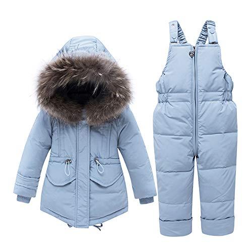 CARETOO Baby Mädchen Winterjacke Warm Schneeanzug Daunenjacke Skianzug Süß Mit Kapuze + Schneelatzhose Down Jacket 2tlg Bekleidungsset Verdickte,Blue, Label 90/Height 33-37 inch