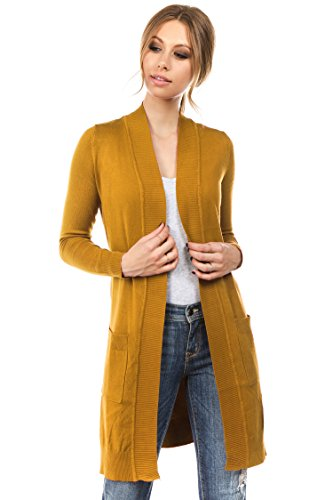 CIELO Women's Long Sleeve Sweater Duster Cardigan, Mustard, X-Large