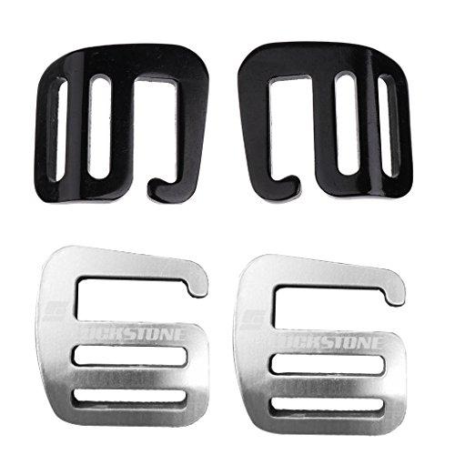 4 Stück Aluminium G Haken Webbing Buckle Rucksack Gurt Band Strap Schnalle 25mm - Schwarz + Silber