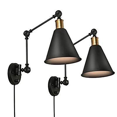 SUNVP Swing Arm Wall Lamp Plug-in Cord Industrial Wall Sconce Plug in or Hardwire with On/Off Switch Wall Mounted Reading Light Fixture Set of 2 Bedside Reading Lamp