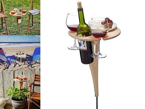 Weintisch Tragbarer, Weintisch Klappbar, Weintisch im Freien, Picknicktisch Klapptisch Outdoor Weintisch für den Garten, Kleiner Strandtisch, Zusammenklappbarer Tisch Holz Für Den Außenbereich