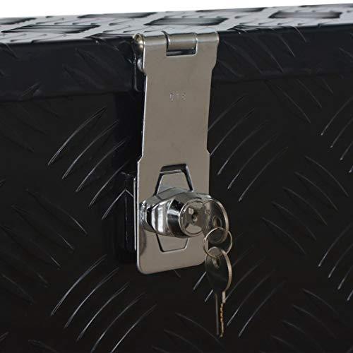 vidaXL Aluminiumkiste Transportkiste Transportbox Werkzeugkiste Werkzeugbox Deichselbox Alubox Alukoffer Lagerbox 485x140x200 mm Schwarz Aluminium - 5