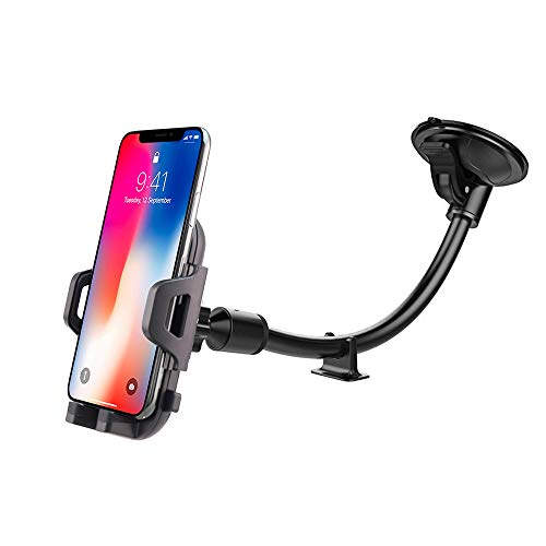 Windshield Car Phone Mount, UniversalDashboard Phone Holder with Long Arm Washable Suction Cup Car Cradle,Compatible with Phone 11 Pro Xs XS Max XR X 8 8 Plus 7 Galaxy S9 S8 S7 Note 9 10
