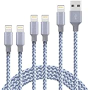 Lightning Cable iPhone Charger Cable MFi Certified Cable 5Pack 2x3foot 2x6foot 10foot To USB Syncing Data and Nylon Braided Cord Charger for iPhone Xs/Max/XR/X/8/8Plus/7/7Plus/6S/6S Plus/SE/iPad and M