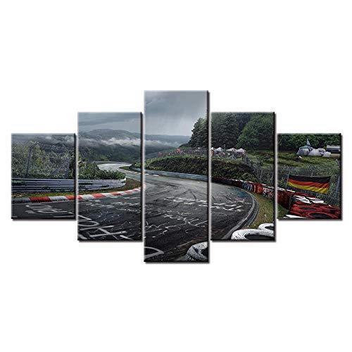 Swallow 5 Paneles Nurburgring Rally Road Impreso en Lienzo Cuadros/Arte de la Pared Pintura/Decoración del hogar/Módulo Poster-30x40 30x60 30x80cm sin Marco