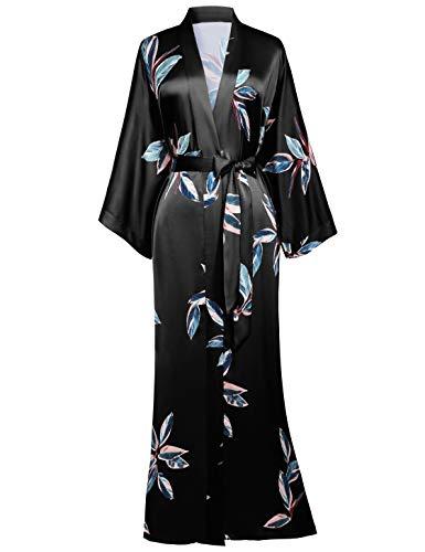 BABEYOND Damen Morgenmantel Blätter Muster Maxi Lang Robe Kimono Sommer Satin Bademantel Damen Strandkleid Leicht Schlafmantel (Schwarz, Einheitsgröße)