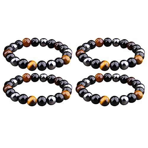 DOITOOL 4 Pulseras de Piedra de Yoga Cuentas Redondas Pulseras de Piedras Preciosas Pulseras de Aceites Esenciales Pulsera de Equilibrio Curativo Cadena de Mano para Hombres Y Mujeres