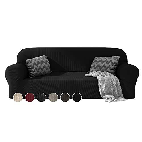 Dreamzie - Sofabezug 3 Sitzer Elastische - Schwarz - Oeko-TEX® - Sofa Überzug Dehnbarer aus Recycelter Baumwolle - Made in Europe