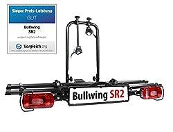 Bullwing SR2 - Fahrradträger für 2 Fahrräder auf die Auto Anhängerkupplung abklappbar (Rahmenhalter,Radstopper,Gurt)