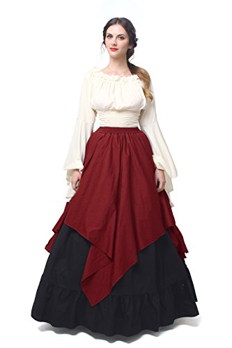 Womens Medieval Victorian Costume Dress Gothic Renaissance Asymmetric Fancy Dresses GC367B-L