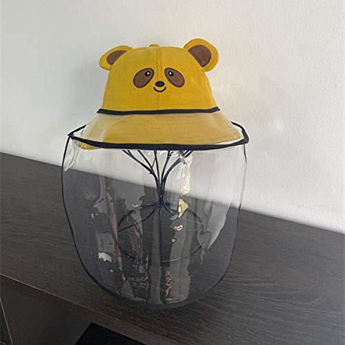 Sombrero de Pescador Anti-Saliva niños Anti-Spray Sombrero algodón Puro bebé Sombrero niños Protector Cuenca Sombrero-Oso extraíble_Los 52-54cm