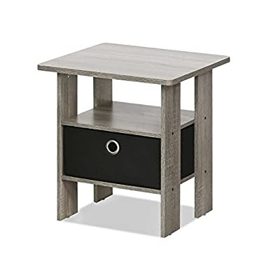Furinno 11157GYW/BK End Table Bedroom Night Stand W/Bin Drawer, French Oak Grey/Black, Small