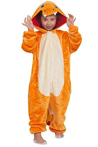 """Qemsele Niños Onesies Kigurumi Pijamas Niña Traje Disfraz 3D Animal Capucha Ropa de Dormir Halloween Cosplay Navidad Animales de Vestuario (110 para Altura 100-110CM (39""""-43""""), Charizard)"""