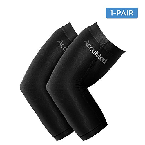 AccuMed Elbow Brace Compression Sleeve (1 Pair) - Arm Support Elbow Sleeve for Tendonitis, Arthritis, Bursitis, Weightlifting, Golf, Tennis, Pain Relief, Recovery, Copper Fiber, for Men & Women Medium