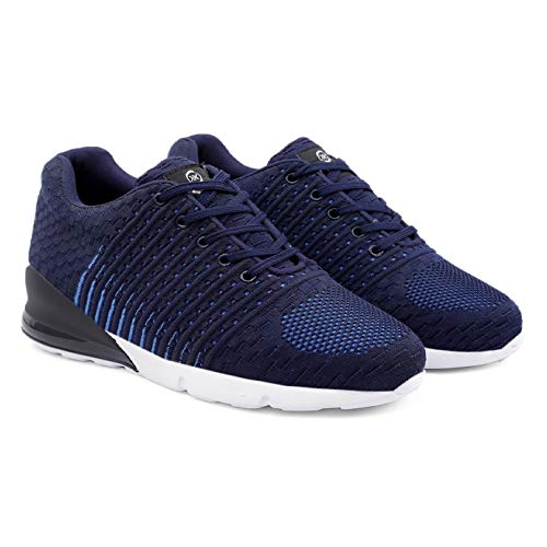 INLAZER Men's 3 Inch Hidden Height Increasing/Elevator Mesh Material Sports Running Casual Sneakers Lace-Up Shoe (Blue, Numeric_7)