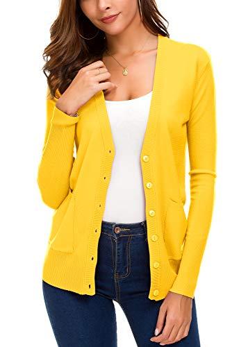 Women's Basic Cardigan Long Sleeve Button Down Thin Coat Autumn Fashion Sweater (L, Lemon Yellow)