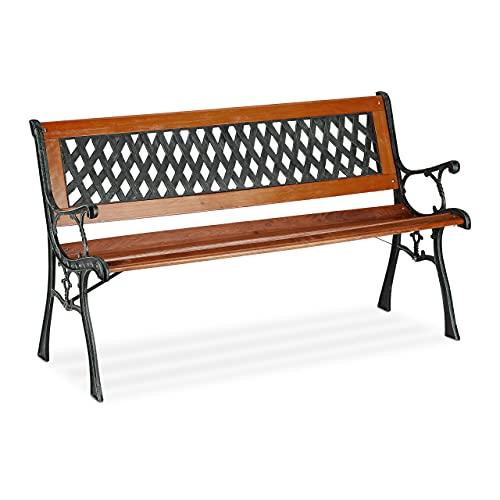 Relaxdays Panchina da Giardino a 2 posti, in Legno e ghisa, per Balcone e terrazza, Stile Rustico, 73 x 125 x 52,5 cm, Colore: Marrone/Verde, 73x125x52,5 cm