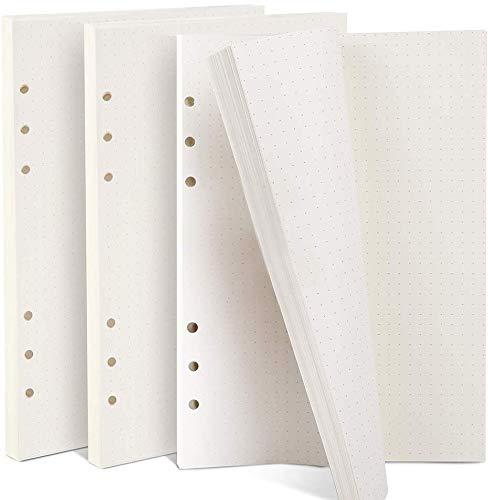 Pagine Ricambio Agenda -WENTS 6 Anelli Filofax Formato A5 ,160 Fogli / 320,Quadretti da 5 mm Cartella di File Pianificata per Diari Giornalieri Calendario Appunti Inserti Scrapbooking