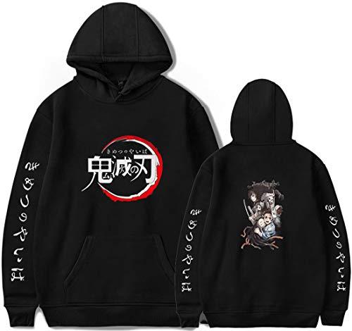 PANOZON Sudadera Hombre Demon Slayer Impresión de Espada Mata-Demonios Hoodie de Anime con Capucha