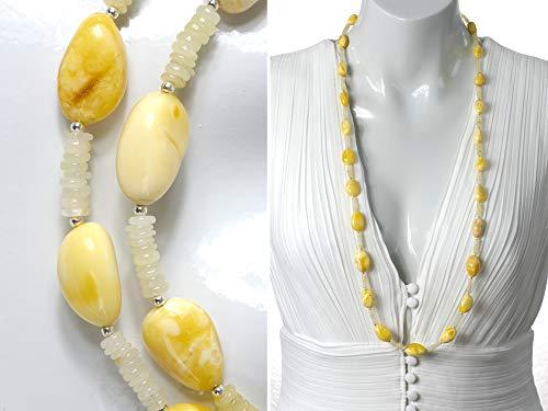 Lange weiße Bernstein Halskette mit gelbem Opal Perlen und Sterlingsilber Perle mit vintage Markasit Silberverschluss
