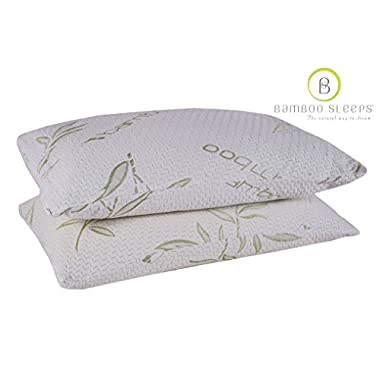 Bamboo - Ultra Cool Memory Foam Pillow - Hypoallergenic Washable Cover - King Size (2 Pack)