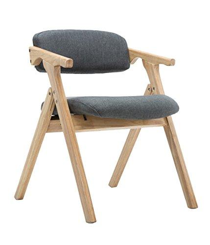 Esszimmerstuhl, Gepolsterter Klappstuhl - Holz Home Lounge Sessel Mit Rückenlehne Und Armlehne, 4 Farben (Farbe : Blau)