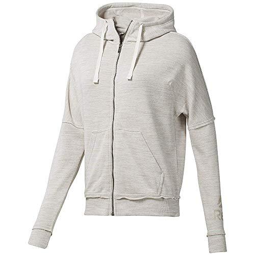 Reebok Damen Elements Marble Logo Full-Zip Sweatjacke Creme, Weiß Jacken, XS