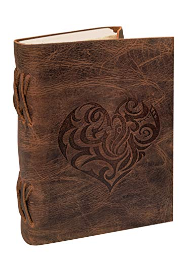 Heart Leather Journal for Women - Handmade Leather Bound Journal Notebook with Embossed Heart Cover - Love Journal for Daily Drawing & Sketching - Perfect 7 x 5 Inches Size for Travel or Writing