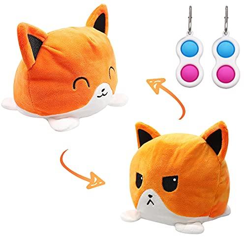 Jsvacva Peluche de Gato Reversible, Felpa de Gato de Doble Cara, Gato Reversible Prime, Reversible Peluches y 2 Piezas Fidget Toy para Niños y Adultos(Naranja)