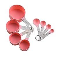 tangger 8 pcs misurini e tazze con manici in acciaio inossidabile,set cucchiai dosatori misurin cups and spoons,rosa misurini cucina in plastica