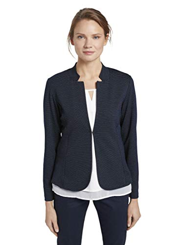 TOM TAILOR Damen Struktur Blazer, Navy Dotted Fabric, L