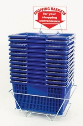Shopping Basket Set of 12 Durable BluePlastic with Sign and Stand
