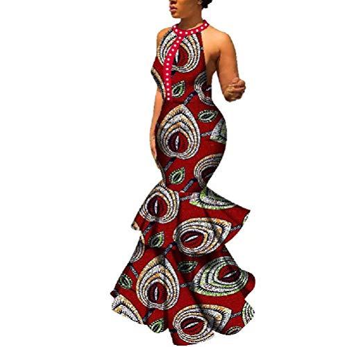 HITARGET Women's Halter Neck African Mermaid Dress Sleeveless Ruffle Maxi Dress