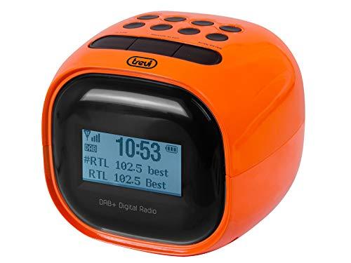 Trevi RC 80D2 DAB Radiosveglia Elettronica con Ricevitore Digitale DAB DAB+, Grande Display LCD, Sveglia Programmabile con Radio o Suoneria, Funzione Sleep, Funzione Snooze, Arancio