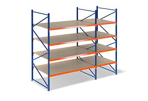 Lagerregal 3,5m breit, 2m hoch, 80cm tief, 4 Ebenen mit Holzböden - Schwerlastregal Weitspannregal