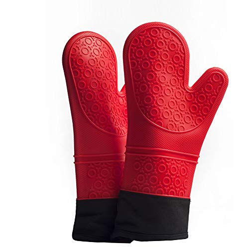 GERAWOO Professionelle Ofenhandschuhe Hitzebeständige (1 Paar) Bis Zu 260 °C,Extra Lange Topflappen-Backhandschuhe zum Pizza und Kochen (Rot)