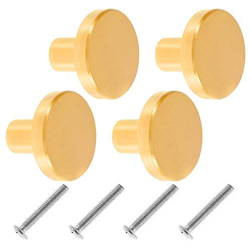 4 Stück Schubladenknöpfe, Möbelknöpfe Messing Runder Gold Möbelgriff Metall Schrankgriffe Schrankenknopf Messingknopf mit 4 Stück Schrauben, Inneneinrichtung für Schranktüren (20 x 25mm)