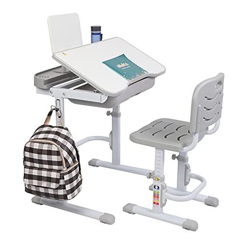 JYXJJKK Mesa de escritorio y silla para niños multifuncionales de compra directa británica, 70 cm, se puede inclinar la mesa de estudio y silla para niños (color gris)
