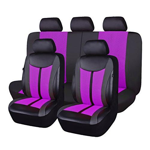 Flying Banner Viola PU Pelle e Mesh Traspirante Universale Coprisedili Auto Set con Airbag Compatibile