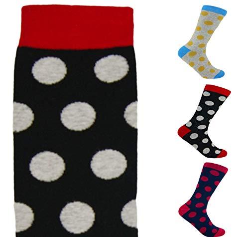 Trendcool Calcetines Mujer Divertidos Talla 36-40. Pack Calcetines Largos 98% Algodón Estampados. Calcetines Altos con Dibujos Colores de Diseño Graciosos. (lunares2, 3)