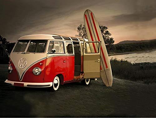 Zyysyzsh Puzzels 1000 Stukjes Volwassen Houten Puzzels Classic Puzzel Vrije Tijd Creatieve Spelletjes,Bus En Surfplank