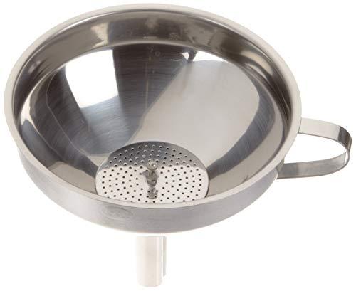 RÖSLE Trichter, Hochwertiger Küchentrichter aus Edelstahl 18/10, mit seitlichem Griff und herausnehmbarem Siebeinsatz, Spülmaschinengeeignet