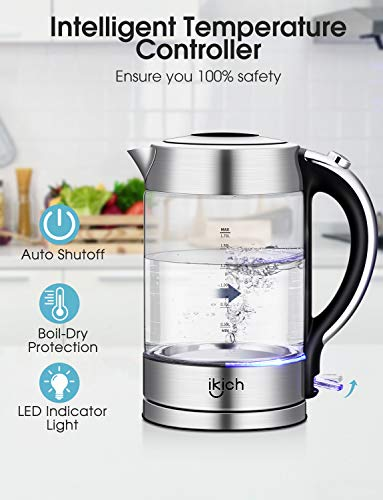 IKICH-UK189-01-Illuminated-Glass-Electric-17L-Eco-Kettle-with-Auto-Shut-Off-Boil-Dry-Protection-BPA-Free-Cordless-Hot-Water-Quiet-Fast-Boil-2200W-Stainless-Steel-17-liters