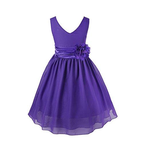 IEFIEL Vestido Largo Elegante de Fiesta Boda Ceremonia para Niña Vestido de Flores Gasa 2-14 Años