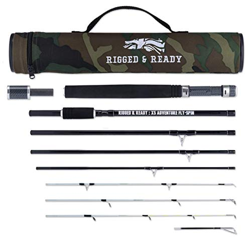 The X5 Adventure Travel Fishing KIT. 5 Fishing RODS in ONE. Interchangeable Spin, Fly, Bait, Travel Fishing Rod. for Fly Fishing, Saltwater Fishing and Much More, All in a Compact Format!