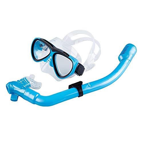 Traje de máscara Durable Anti-Niebla Snorkel Set Niños, Gafas de Buceo for niños, Equipo de Snorkel seco for niños y niñas Adecuado para Snorkeling (Color : Blue, Size : One Size)