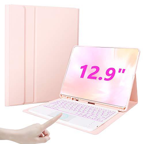 """Custodia con Tastiera Touchpad per iPad PRO 12,9"""" (3a e 4a Generazione)2020/2018, Retroilluminata,Staccabile, Cover Protettiva TPU per iPad PRO 12,9"""" - Oro rosa"""